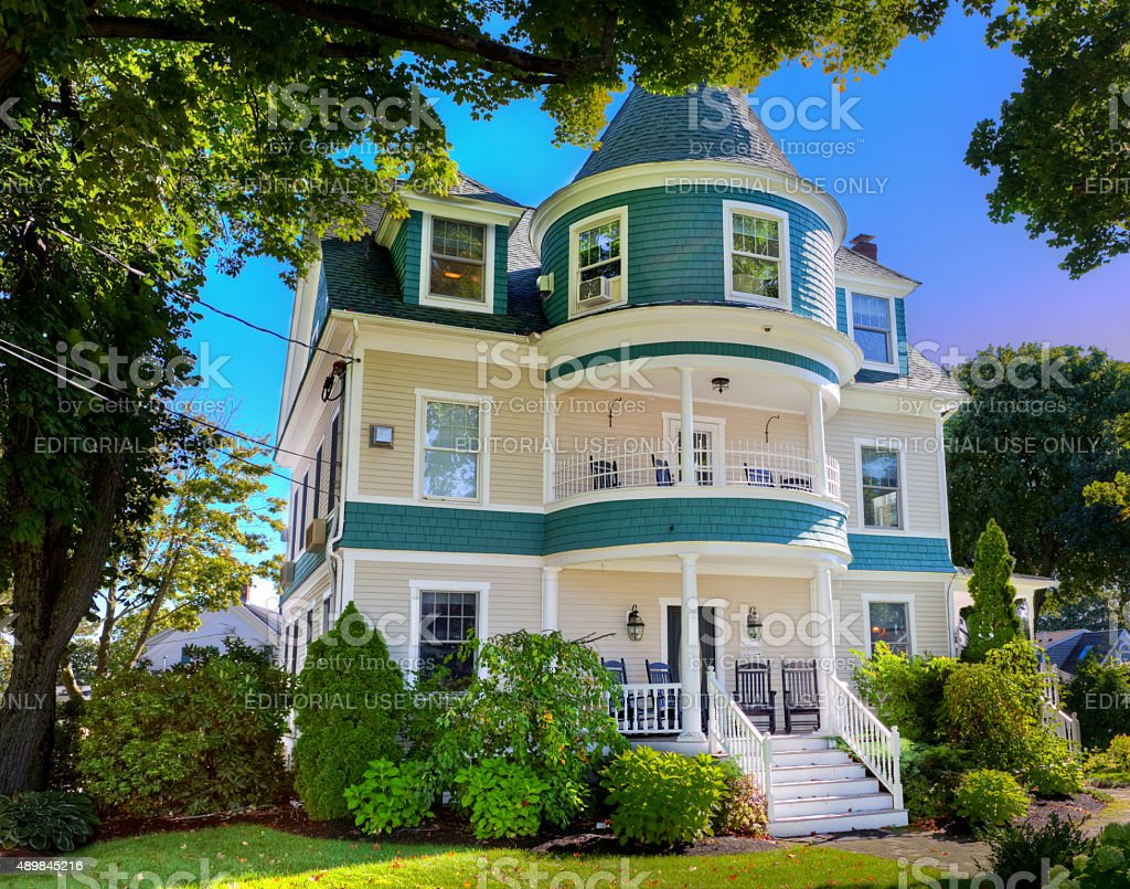Bed and Breakfast in Luxury House, Maine, New England, USA. stock photo