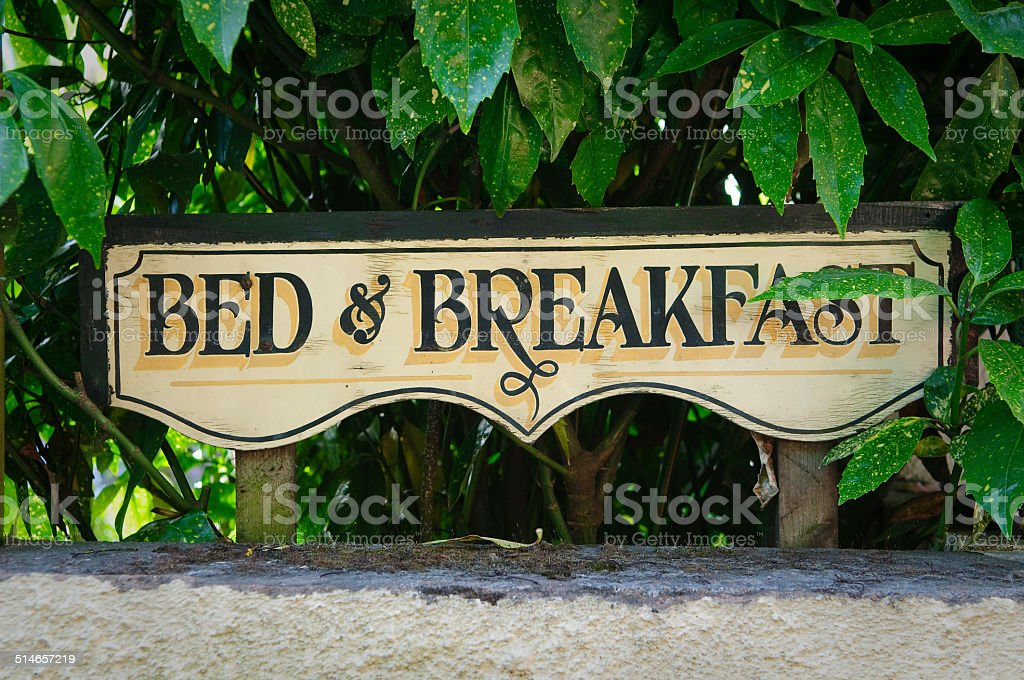 Bed and breakfast vintage sign stock photo