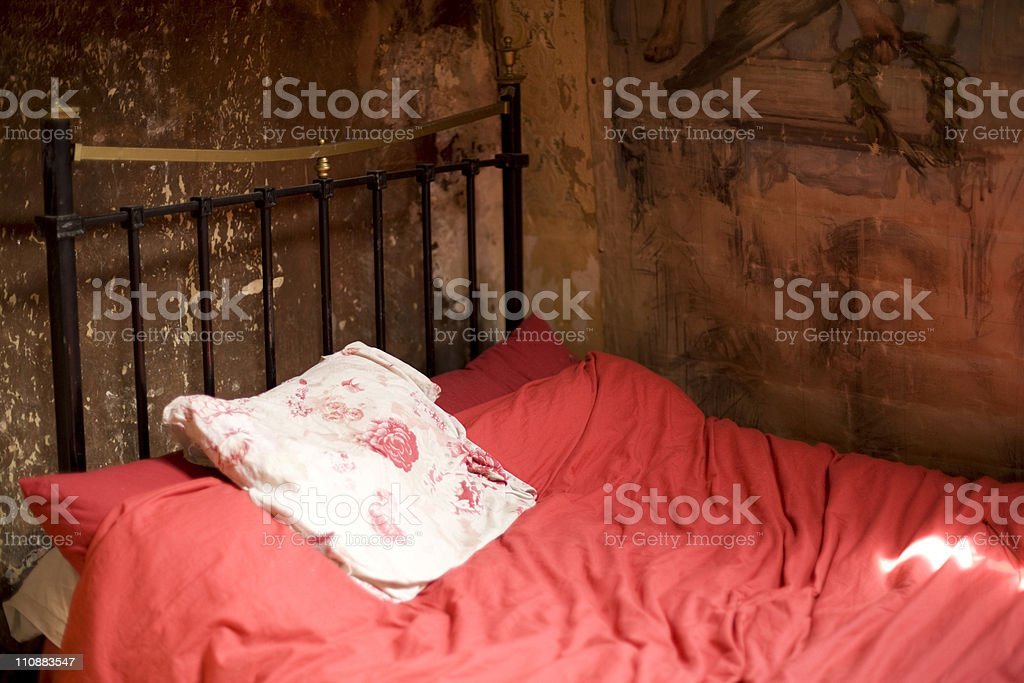 bed at antique house stock photo