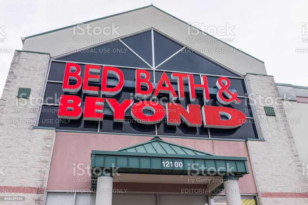 Bed Bath and Beyond store facade in red stock photo