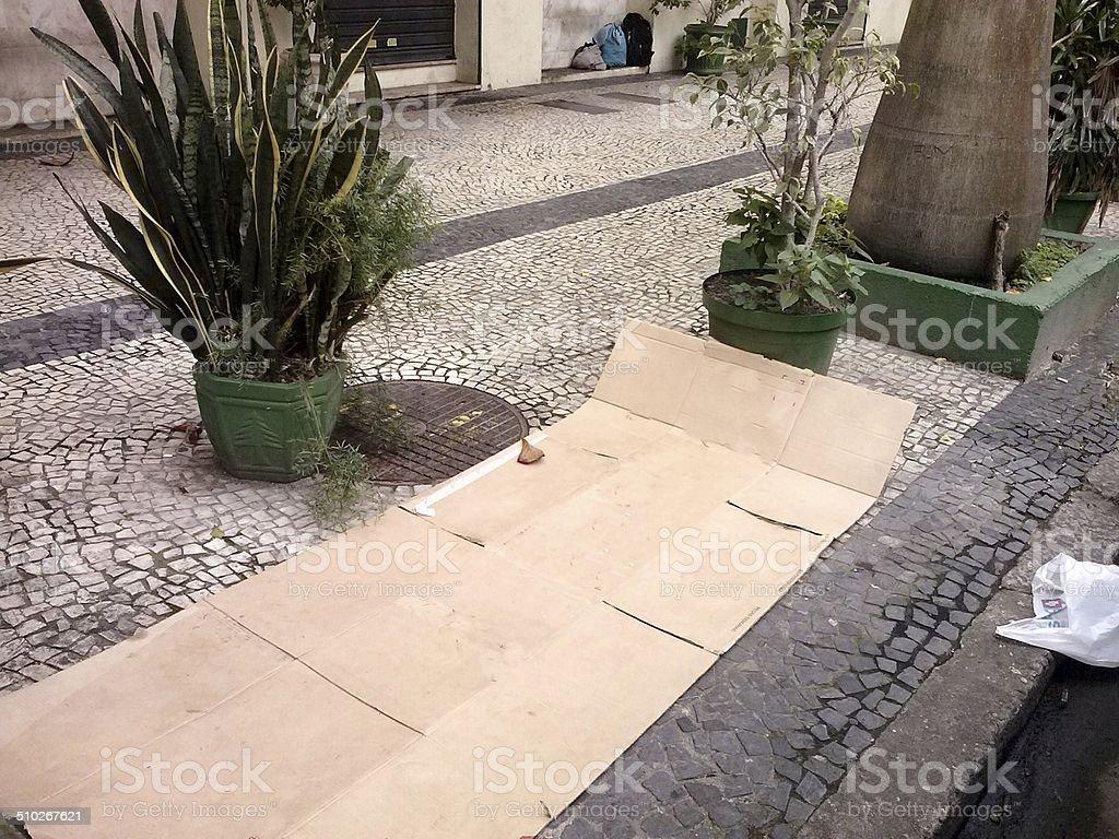 Bed beggar, homeless, on the sidewalk, Rio de Janeiro stock photo
