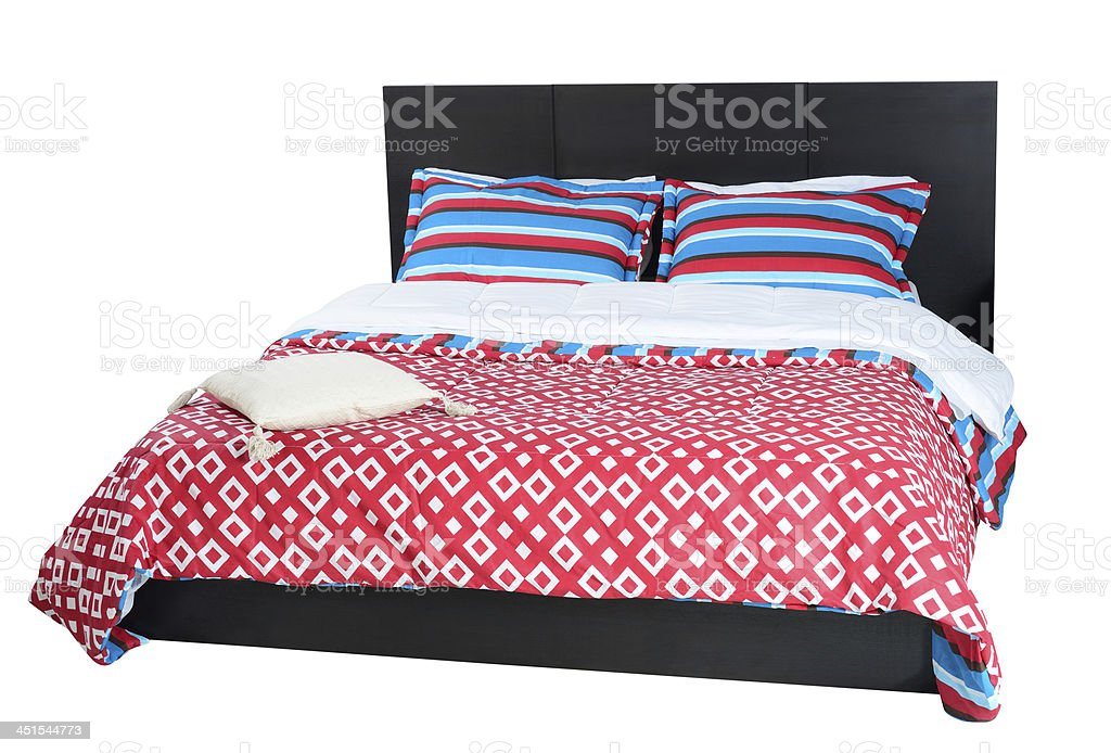 Bed. Clipping path stock photo