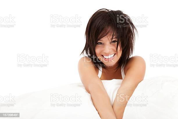 Bett Head Stockfoto und mehr Bilder von Attraktive Frau