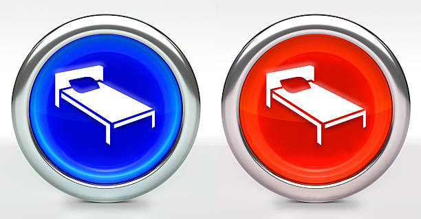 Bed Icon on Button with Metallic Rim stock photo