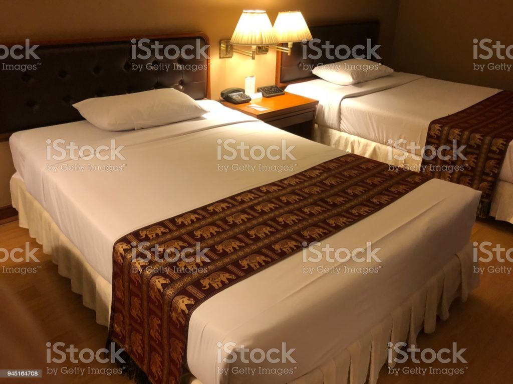 Bed in Hotel stock photo