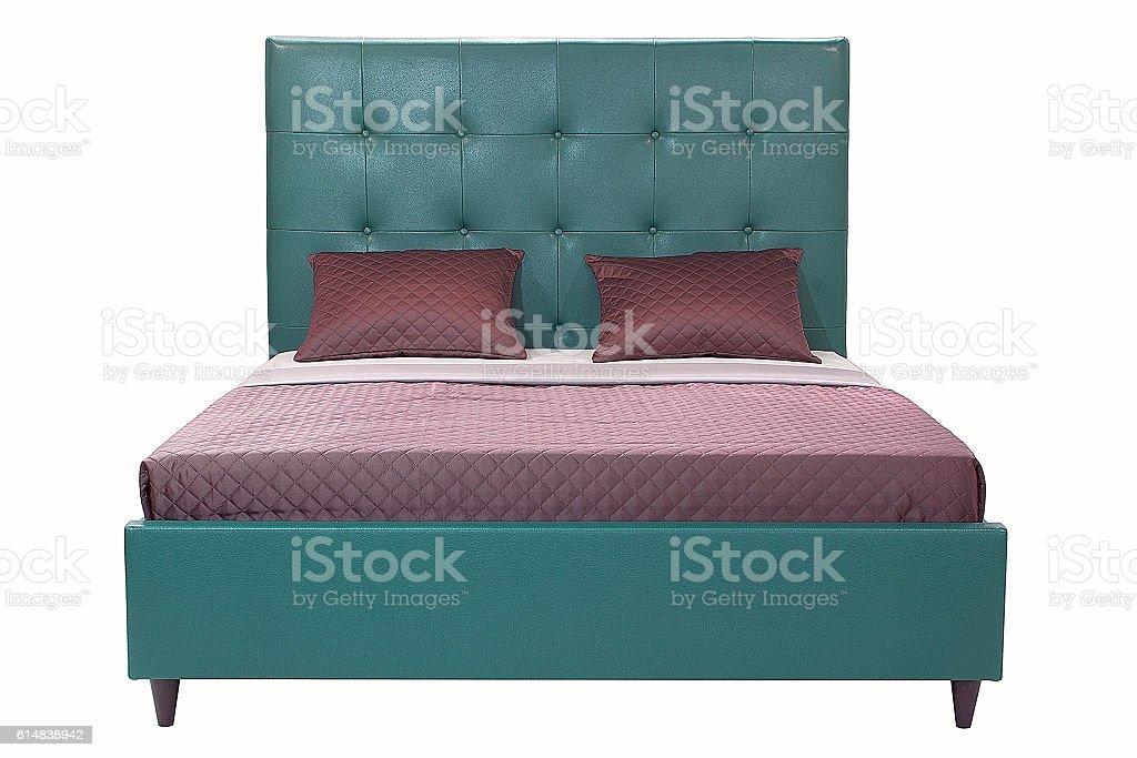 Bett, isoliert auf weiss – Foto