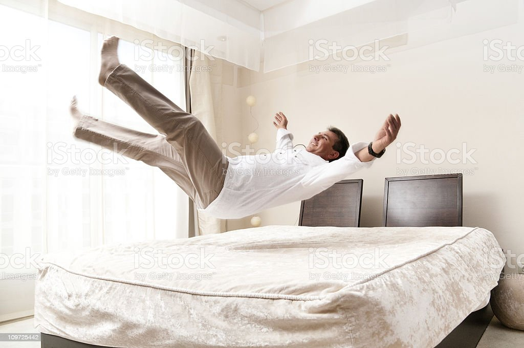 Bed Jump stock photo