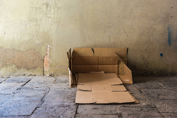 Bed made of cartons of a homeless man​​​ foto