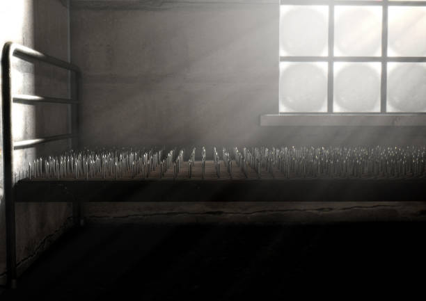 Bed Of Nails In A Room stock photo