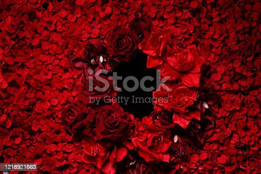 A colourful bed of red roses and other flowers