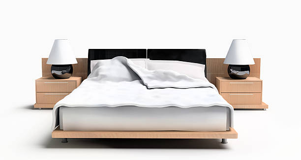 Bed on a white background stock photo