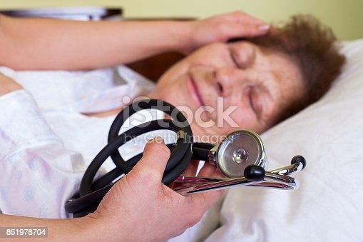 istock Bed ridden elderly woman 851978704