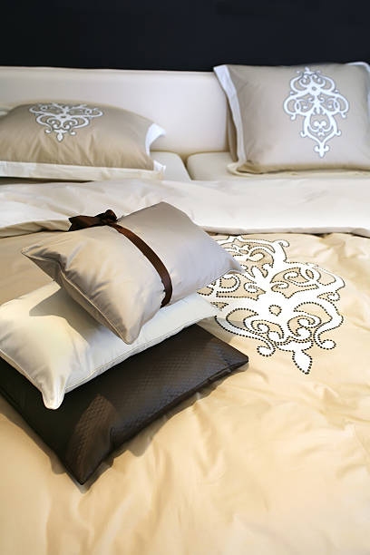 bed textile stock photo