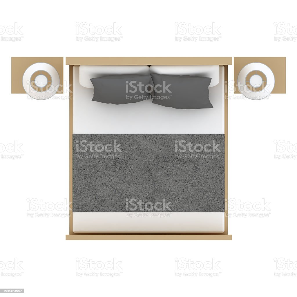 Bed top view stock photo