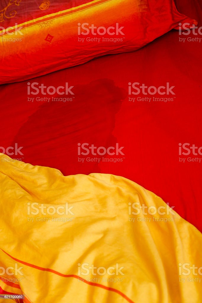 Bed wetting stock photo