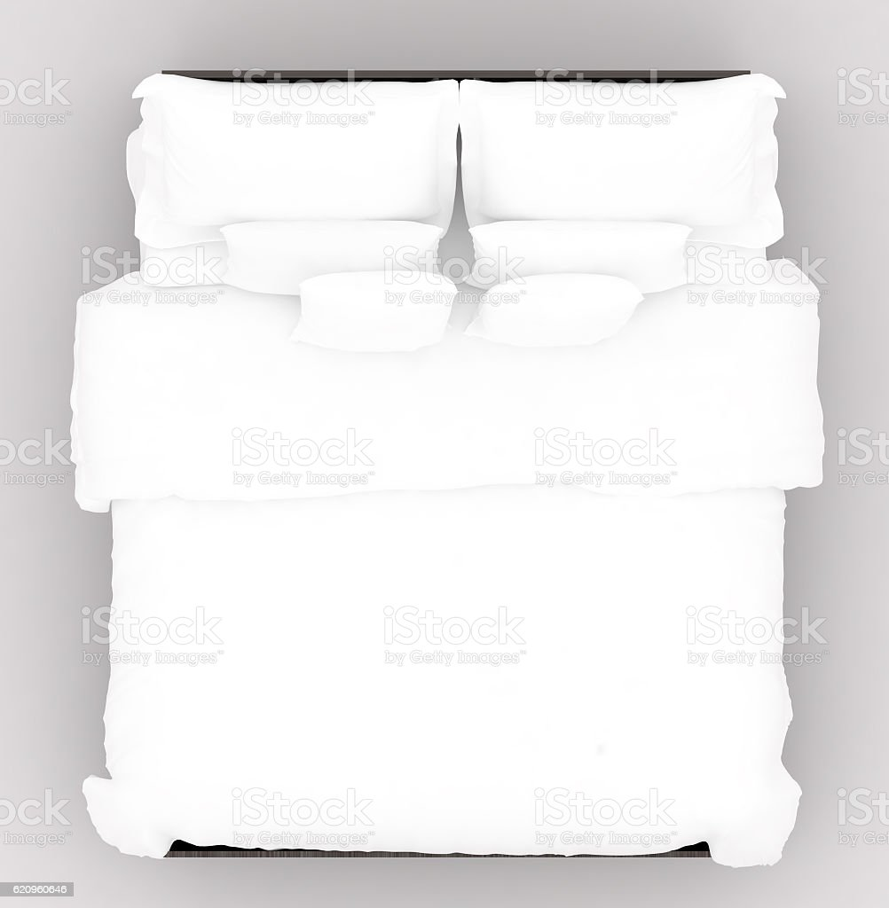 Decor Furniture Hotel Linen Luxury Bed With A Soft Mattress Top View