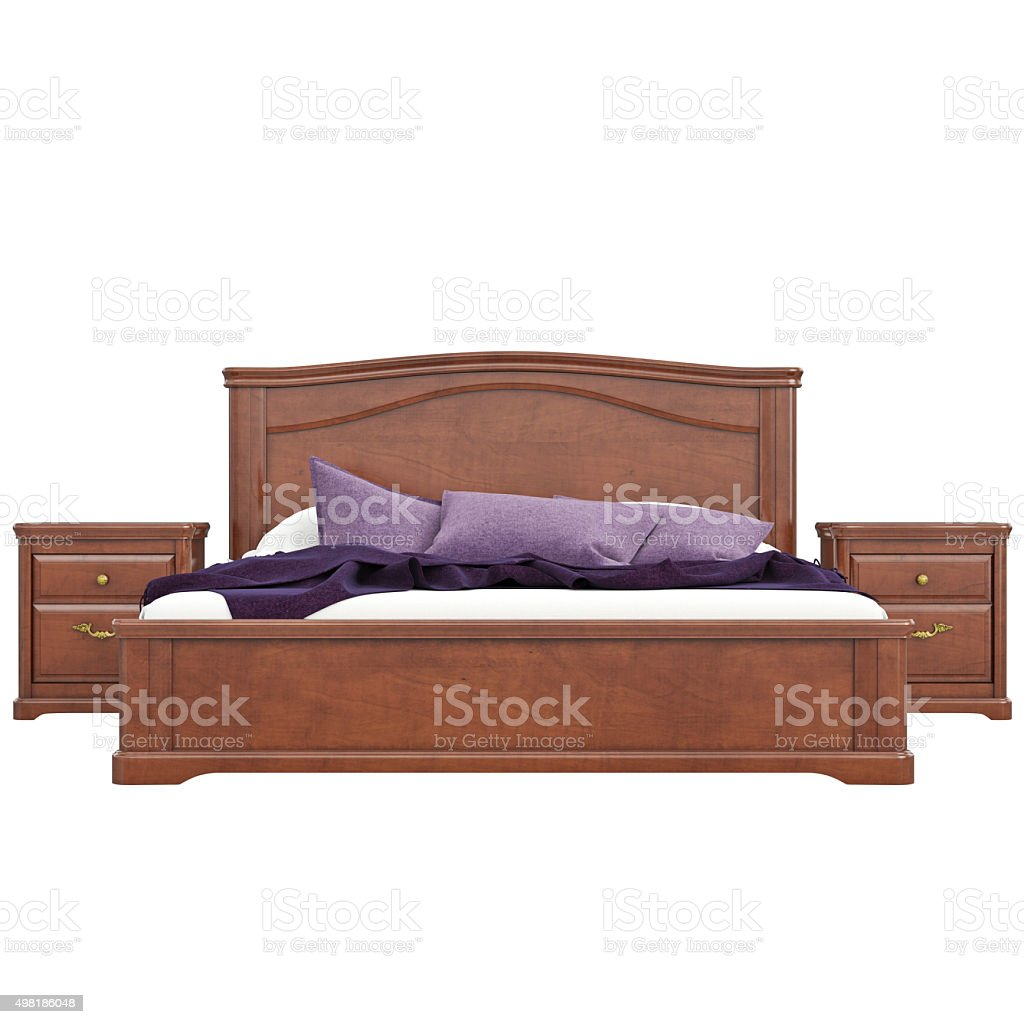 Bed with bedside tables, front view stock photo