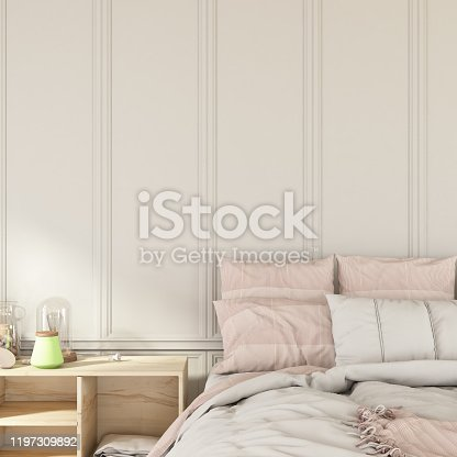 Bed with Empty Wooden Wall. 3d Render