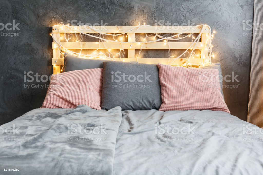 Bed with headboard stock photo