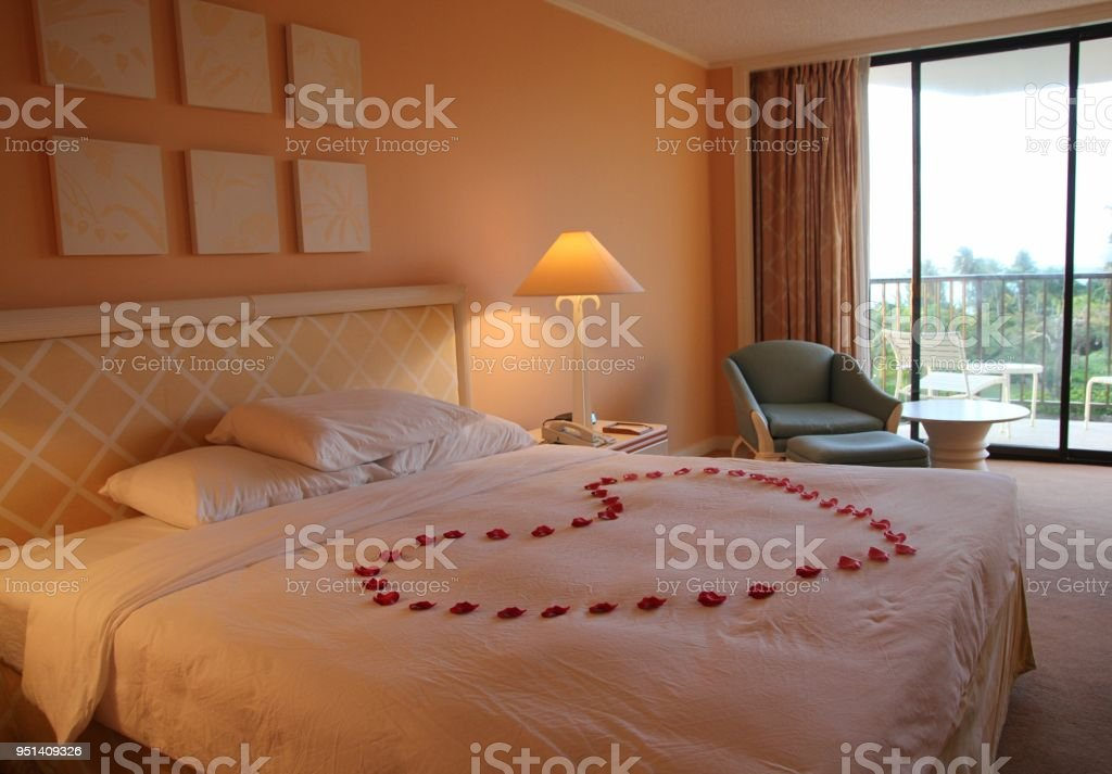 Bed With Heart Shaped Flowers Stock Photo Download Image Now Istock