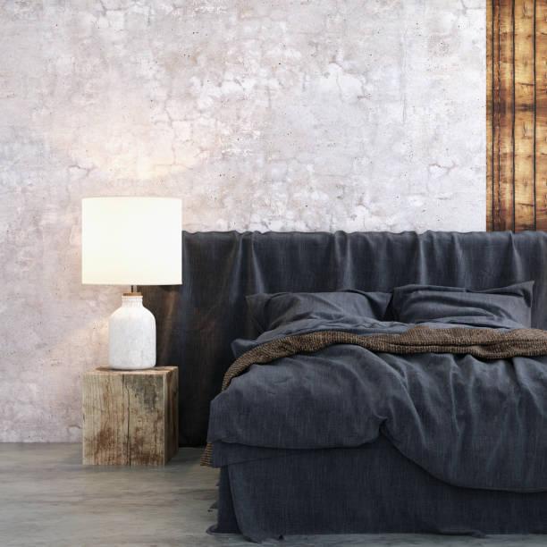 bett mit nachttisch und wand lampe vorlage - sofabezüge stock-fotos und bilder