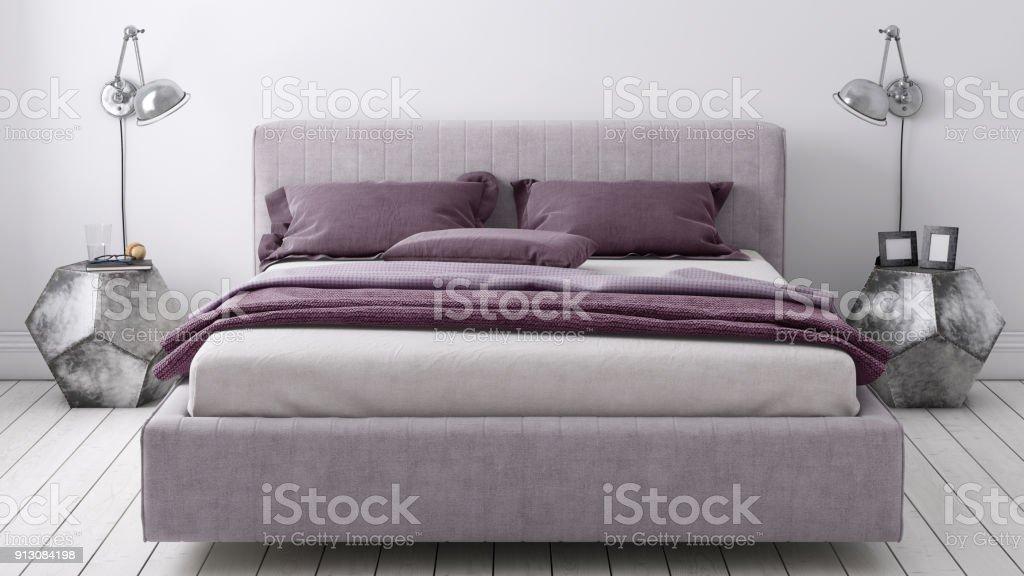 bett mit nachttisch und wand lampe vorlage stock fotografie und mehr bilder von behaglich istock. Black Bedroom Furniture Sets. Home Design Ideas