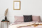 Bed with pink bedding