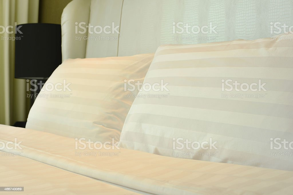 Bed WIth White Pillows royalty-free stock photo