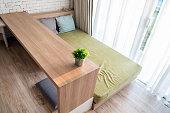 Bed wooden decorative interior