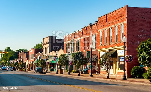 Bedford, OH, USA - July 25, 2015: The main street of this small Cleveland suburb features many old buildings over a century old.