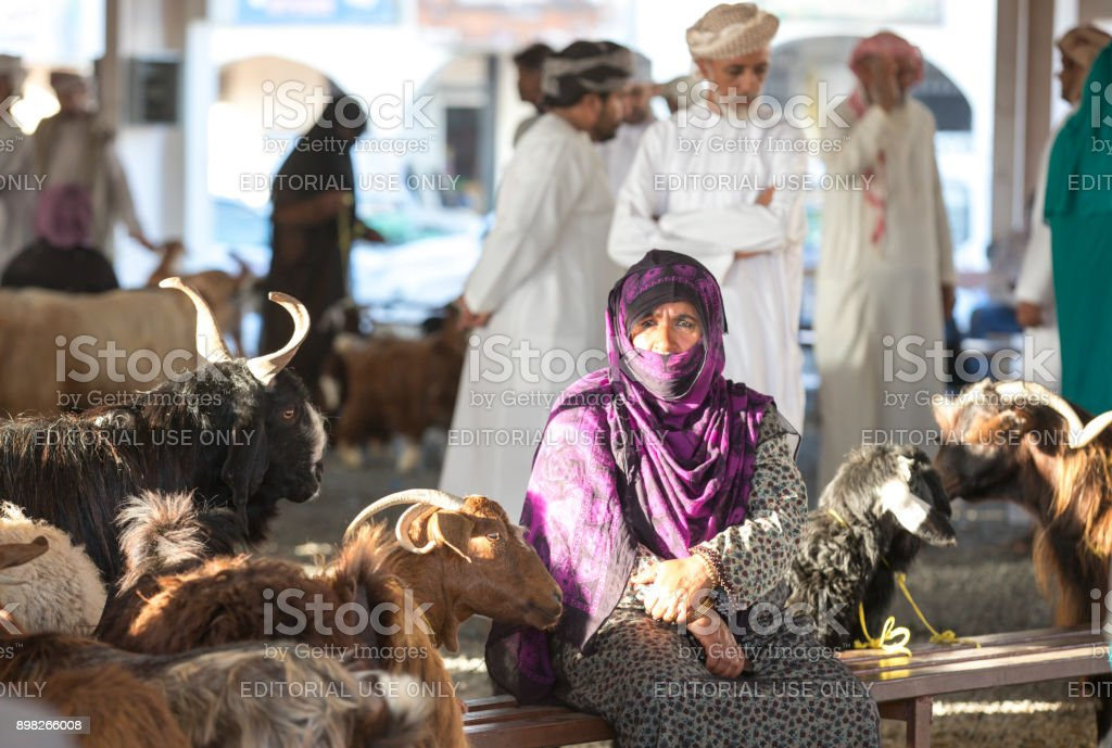 bedhouin woman at a Sinaw goat market stock photo