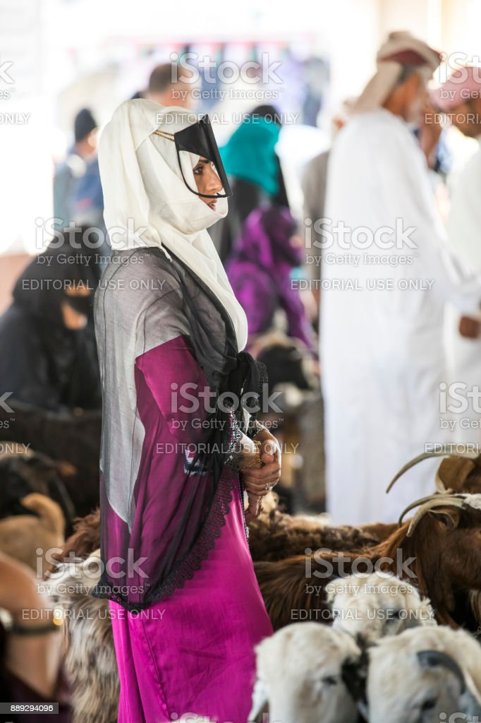 bedhowoman at a goat market stock photo