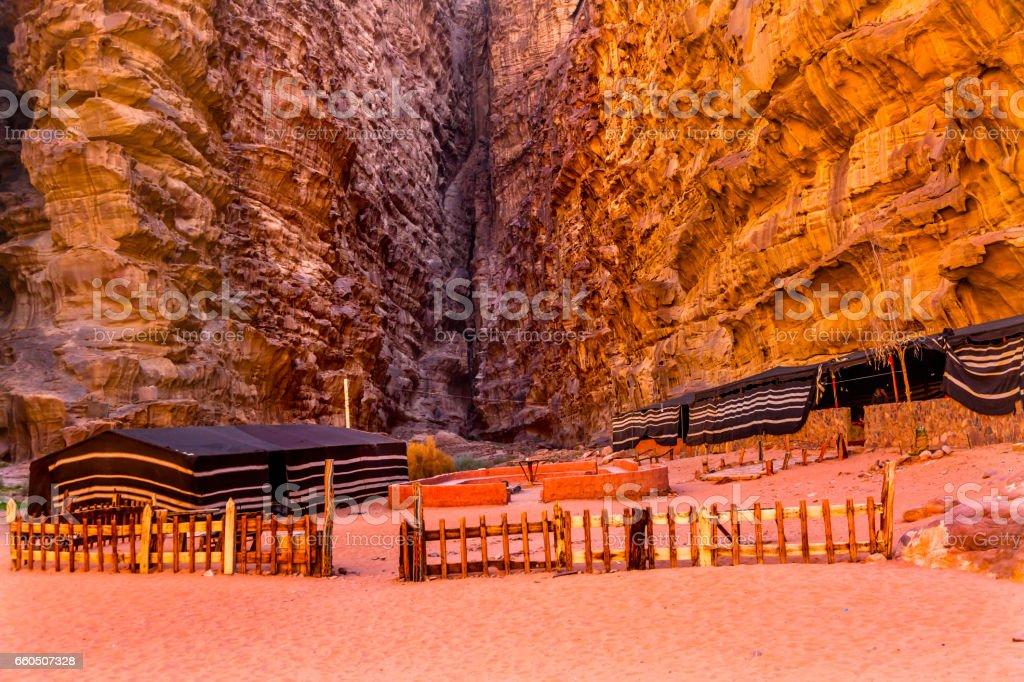 Bedouin Camp Barrah Siq Valley of Moon Wadi Rum Jordan stock photo