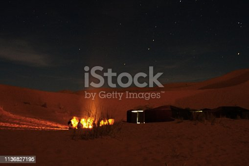 Merzouga is a small Moroccan town in the Sahara Desert, it is a gateway to Erg Chebbi, a huge expanse of sand dunes north of town.