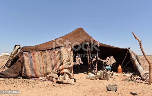 Original, nomadic tent made of camel wool, on a stony Sahara desert in Southern Morocco.
