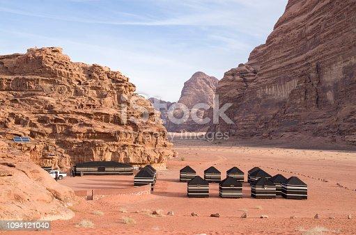 Bedouin tourist black tents in the Wadi Rum desert in Jordan