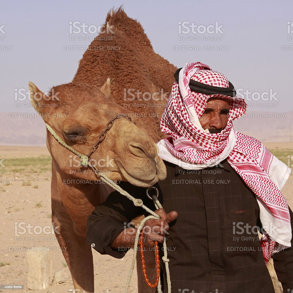 Bedouin with his camel stock photo