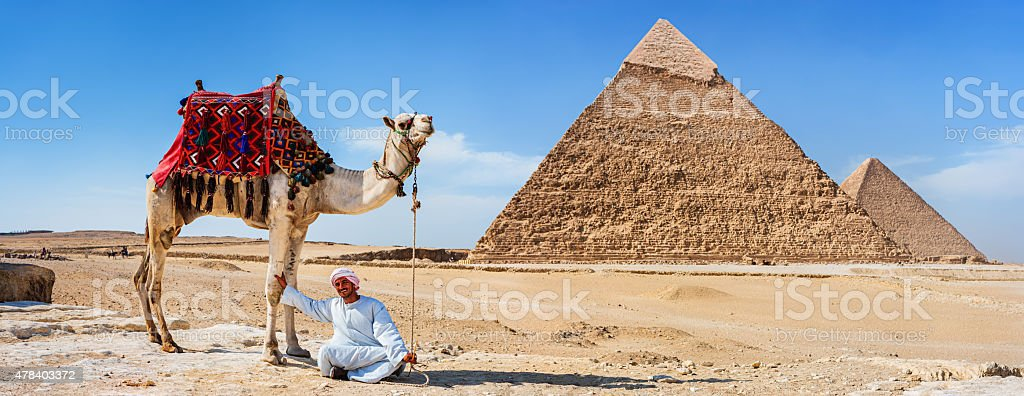 Bedouin with his camel, pyramids on the background stock photo