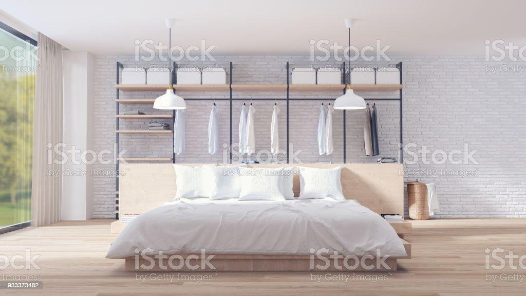 Schlafzimmer Und Ankleide Loft Stil Interior Design Holz ...