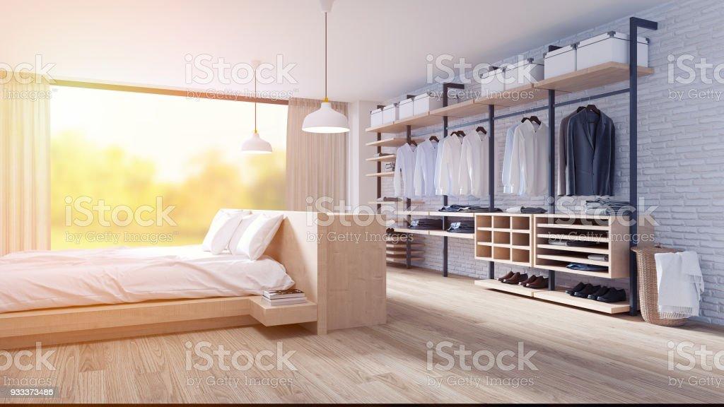 Schlafzimmer Und Ankleide Loft Stil Interior Design, Holz Bett Und Holz  Garderobe Möbel, Weiße