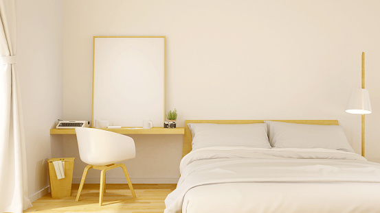 istock bedroom and frame picture for artwork - 3d rendering 616227650