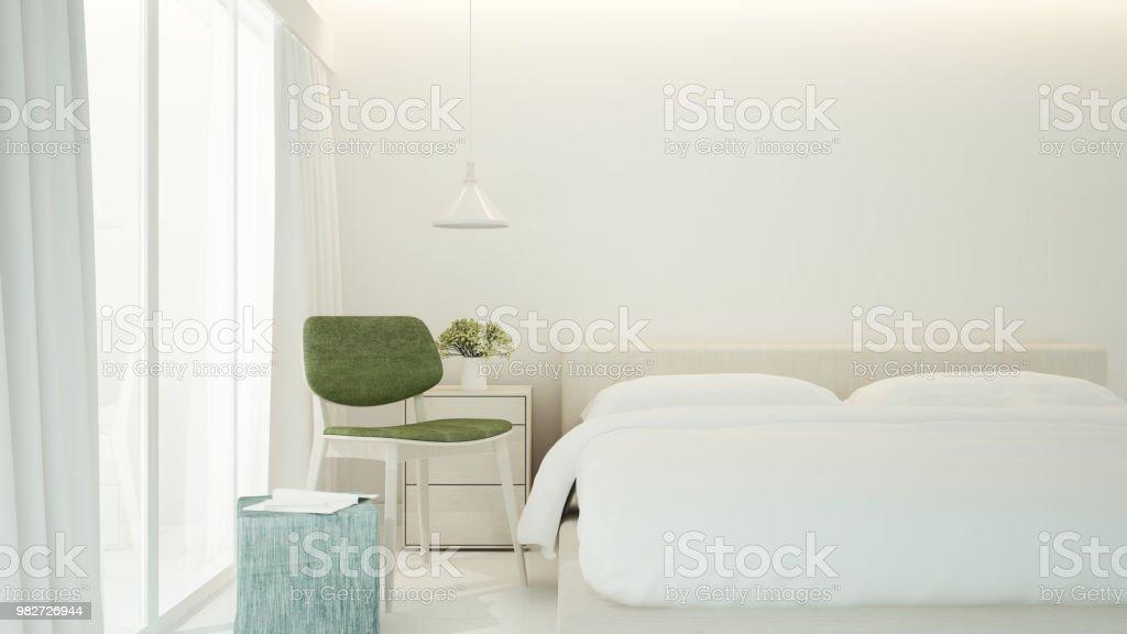 Schlafzimmer Und Wohnraum Im Apartment Oder Hotel Grünen Stuhl Im  Schlafzimmer Minimalistisches Design Für Grafik 3d Rendering Stockfoto und  mehr ...