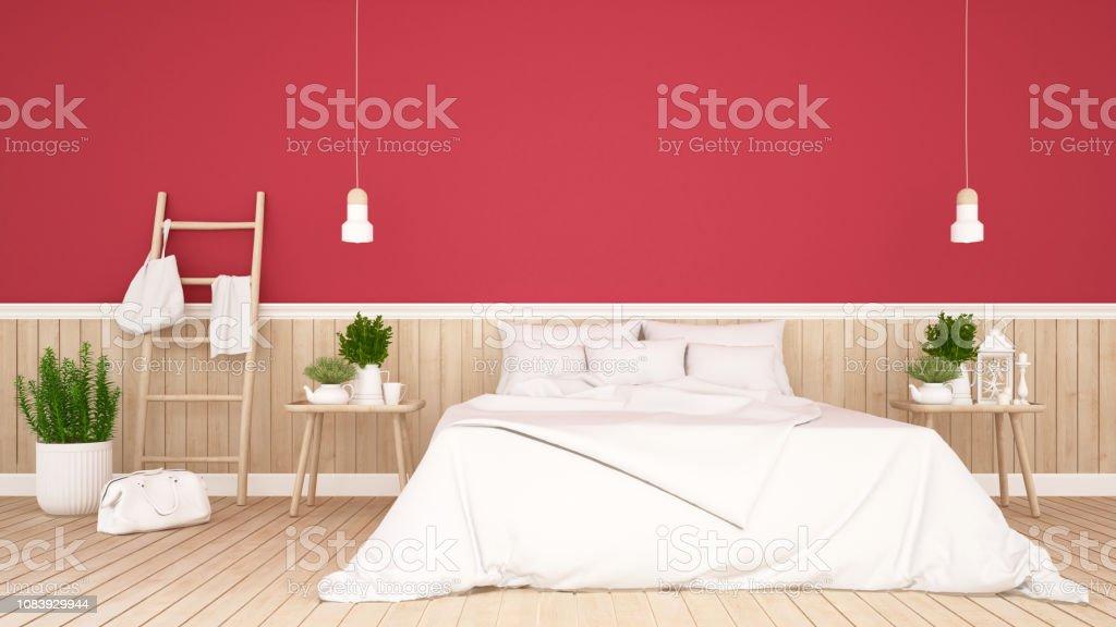 Photo libre de droit de Chambre Et Salon Sur Mur Rouge Décorent En  Appartement Ou En Hôtel Design Dintérieur Simple Rendu 3d banque d\'images  et plus ...