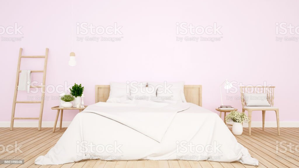bedroom and living area pink tone in Apartment or hotel - Interior Design - 3D Rendering vector art illustration