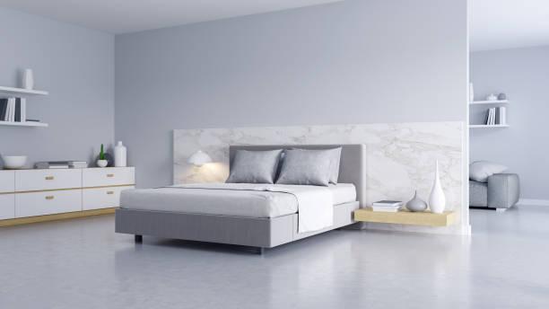 slaapkamer en moderne loft stijl., gezellige witte en grijze kamer minimalistische concept, bed met gepolijst betonnen vloer en witte muur, 3d-rendering - sleeping illustration stockfoto's en -beelden