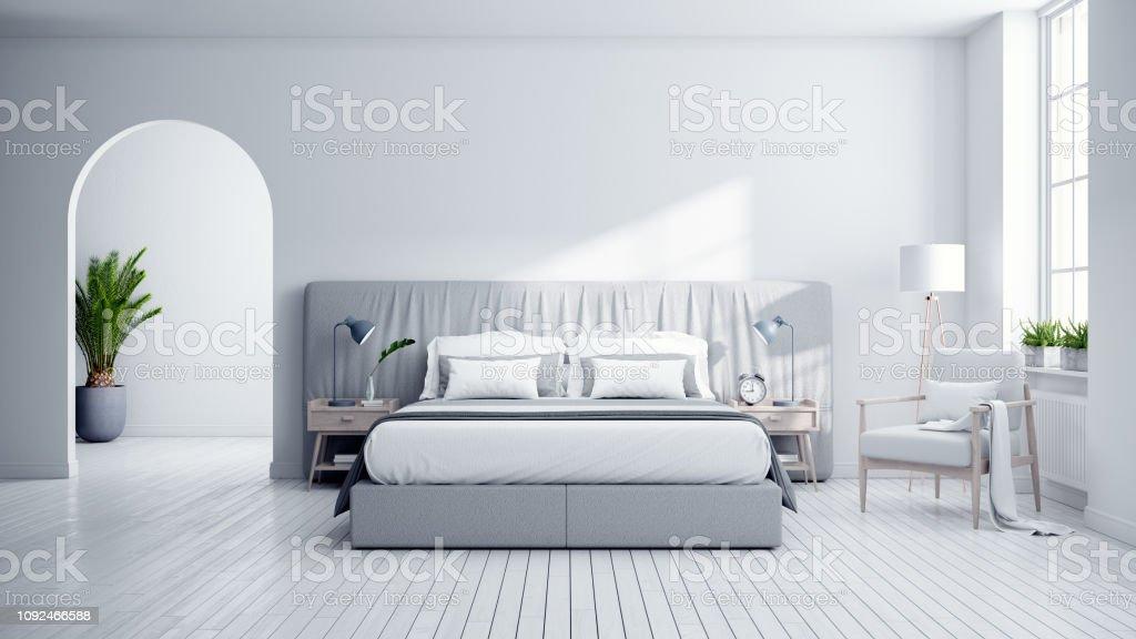 Schlafzimmer Und Moderne Skandinavien Stil Gemutliche Weiss Und Grau Zimmer Minimalistisches Konzept 3drendering Stockfoto Und Mehr Bilder Von Architektur Istock