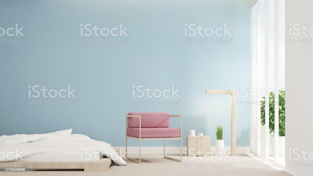 Schlafzimmer Und Rosa Stuhl Auf Wohnbereich Design Raum Für ...