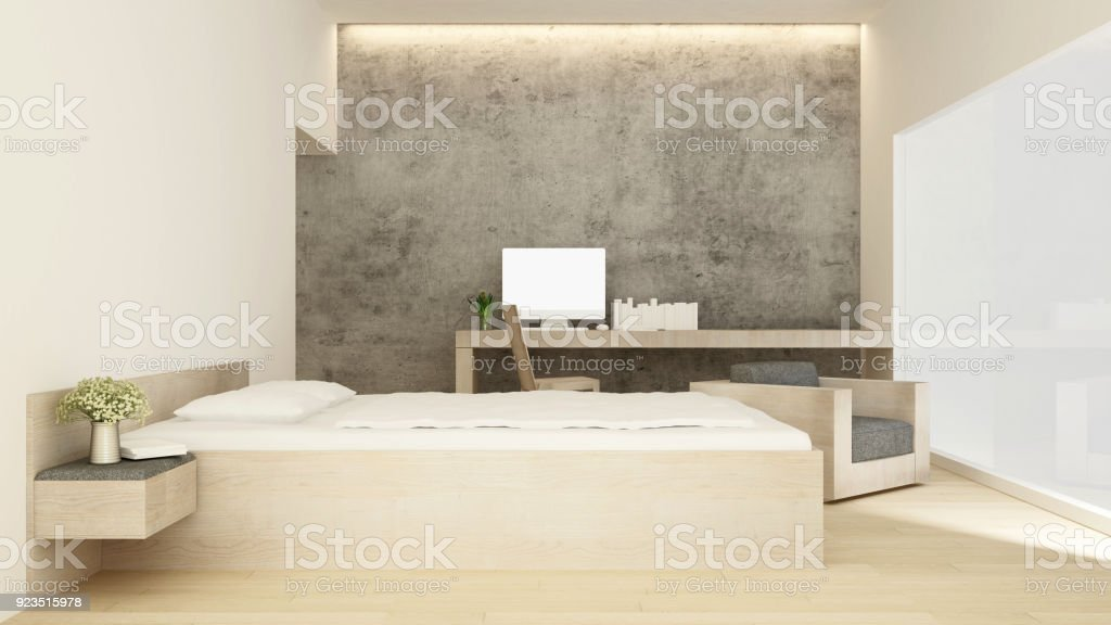 bedroom and workplace concrete wall decorate in home or hotel interior simple design 3d