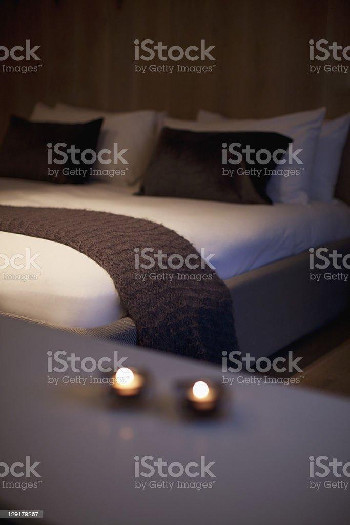 Bedroom at night royalty-free stock photo