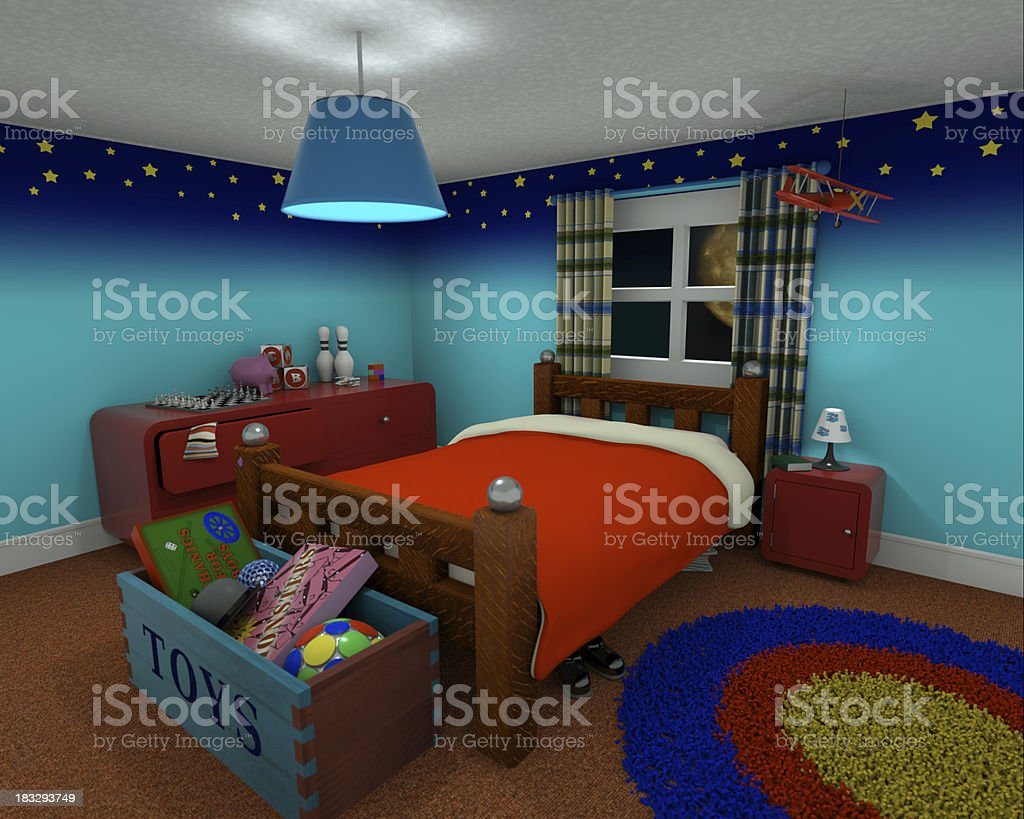 Bedroom at night stock photo